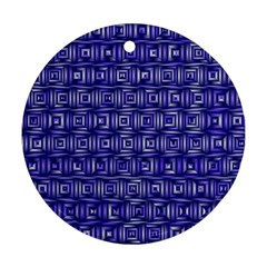 Classic Blocks,blue Round Ornament (two Sides) by MoreColorsinLife