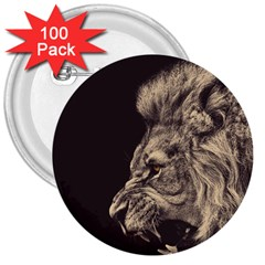 Angry Male Lion 3  Buttons (100 Pack)  by Celenk