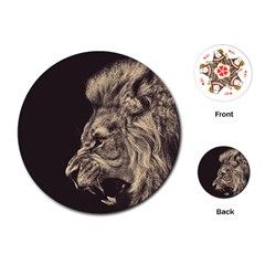 Angry Male Lion Playing Cards (round)  by Celenk