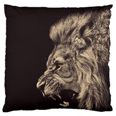 Angry Male Lion Large Flano Cushion Case (one Side) by Celenk