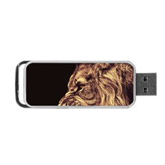 Angry Male Lion Gold Portable Usb Flash (two Sides) by Celenk