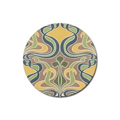 Art Floral Rubber Round Coaster (4 Pack)  by 8fugoso