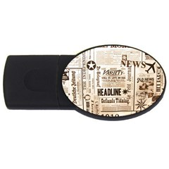 Vintage Newspapers Headline Typography Usb Flash Drive Oval (2 Gb) by yoursparklingshop
