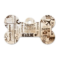 Vintage Newspapers Headline Typography Dog Tag Bone (one Side) by yoursparklingshop
