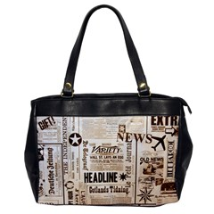 Vintage Newspapers Headline Typography Office Handbags by yoursparklingshop