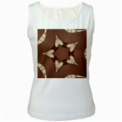 Chocolate Brown Kaleidoscope Design Star Women s White Tank Top by yoursparklingshop