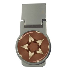 Chocolate Brown Kaleidoscope Design Star Money Clips (round)  by yoursparklingshop