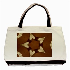 Chocolate Brown Kaleidoscope Design Star Basic Tote Bag (two Sides) by yoursparklingshop
