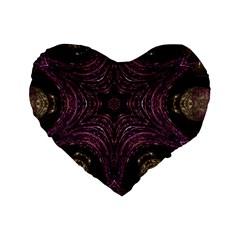 Pink Purple Kaleidoscopic Design Standard 16  Premium Flano Heart Shape Cushions by yoursparklingshop