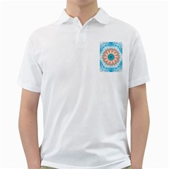 Clean And Pure Turquoise And White Fractal Flower Golf Shirts by beautifulfractals