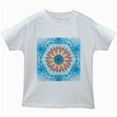 Clean And Pure Turquoise And White Fractal Flower Kids White T Shirts by beautifulfractals