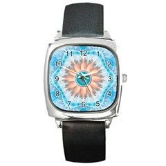 Clean And Pure Turquoise And White Fractal Flower Square Metal Watch by jayaprime