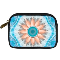 Clean And Pure Turquoise And White Fractal Flower Digital Camera Cases by jayaprime
