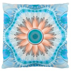 Clean And Pure Turquoise And White Fractal Flower Standard Flano Cushion Case (one Side) by jayaprime