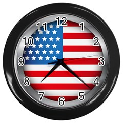 United Of America Usa Flag Wall Clocks (black) by Celenk