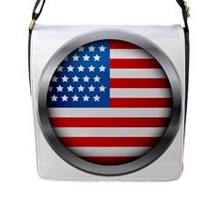 United Of America Usa Flag Flap Messenger Bag (l)  by Celenk