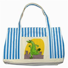 Dragon Striped Blue Tote Bag by Celenk