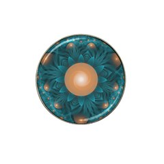 Beautiful Orange Teal Fractal Lotus Lily Pad Pond Hat Clip Ball Marker by beautifulfractals