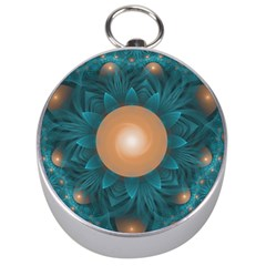 Beautiful Orange Teal Fractal Lotus Lily Pad Pond Silver Compasses by jayaprime