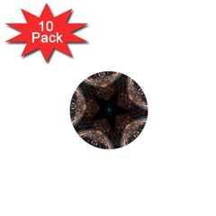Kaleidoscopic Design Elegant Star Brown Turquoise 1  Mini Buttons (10 Pack)  by yoursparklingshop