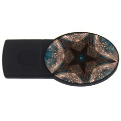 Kaleidoscopic Design Elegant Star Brown Turquoise Usb Flash Drive Oval (2 Gb) by yoursparklingshop