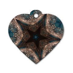 Kaleidoscopic Design Elegant Star Brown Turquoise Dog Tag Heart (one Side) by yoursparklingshop