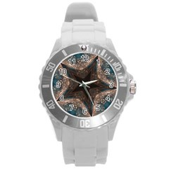 Kaleidoscopic Design Elegant Star Brown Turquoise Round Plastic Sport Watch (l) by yoursparklingshop
