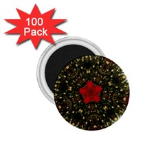 Christmas Wreath Stars Green Red Elegant 1 75  Magnets (100 Pack)  by yoursparklingshop