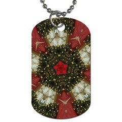Christmas Wreath Stars Green Red Elegant Dog Tag (two Sides) by yoursparklingshop