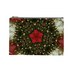 Christmas Wreath Stars Green Red Elegant Cosmetic Bag (large)  by yoursparklingshop