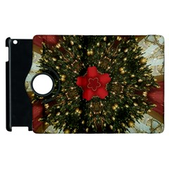 Christmas Wreath Stars Green Red Elegant Apple Ipad 2 Flip 360 Case by yoursparklingshop