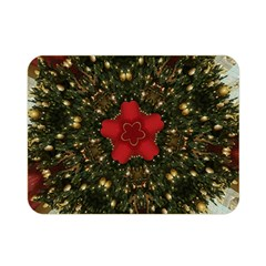 Christmas Wreath Stars Green Red Elegant Double Sided Flano Blanket (mini)  by yoursparklingshop