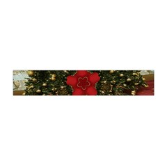 Christmas Wreath Stars Green Red Elegant Flano Scarf (mini) by yoursparklingshop