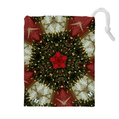 Christmas Wreath Stars Green Red Elegant Drawstring Pouches (extra Large) by yoursparklingshop