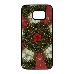 Christmas Wreath Stars Green Red Elegant Samsung Galaxy S7 Edge Black Seamless Case by yoursparklingshop