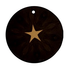 Rustic Elegant Brown Christmas Star Design Ornament (round) by yoursparklingshop