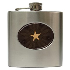 Rustic Elegant Brown Christmas Star Design Hip Flask (6 Oz) by yoursparklingshop
