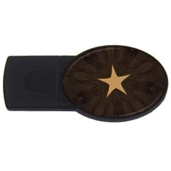 Rustic Elegant Brown Christmas Star Design Usb Flash Drive Oval (4 Gb) by yoursparklingshop