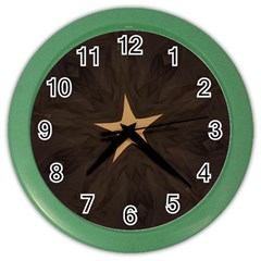 Rustic Elegant Brown Christmas Star Design Color Wall Clocks by yoursparklingshop
