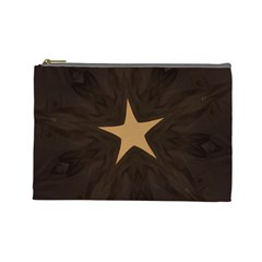 Rustic Elegant Brown Christmas Star Design Cosmetic Bag (large)  by yoursparklingshop