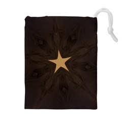 Rustic Elegant Brown Christmas Star Design Drawstring Pouches (extra Large) by yoursparklingshop