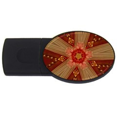 Red Star Ribbon Elegant Kaleidoscopic Design Usb Flash Drive Oval (2 Gb) by yoursparklingshop