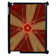 Red Star Ribbon Elegant Kaleidoscopic Design Apple Ipad 2 Case (black) by yoursparklingshop