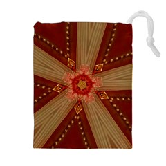 Red Star Ribbon Elegant Kaleidoscopic Design Drawstring Pouches (extra Large) by yoursparklingshop