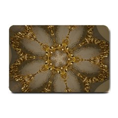 Golden Flower Star Floral Kaleidoscopic Design Small Doormat  by yoursparklingshop