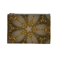 Golden Flower Star Floral Kaleidoscopic Design Cosmetic Bag (large)  by yoursparklingshop
