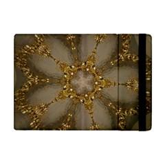 Golden Flower Star Floral Kaleidoscopic Design Apple Ipad Mini Flip Case by yoursparklingshop