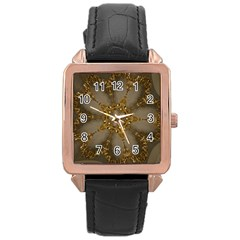 Golden Flower Star Floral Kaleidoscopic Design Rose Gold Leather Watch  by yoursparklingshop