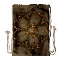 Golden Flower Star Floral Kaleidoscopic Design Drawstring Bag (large) by yoursparklingshop