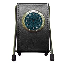 Damask2 Black Marble & Teal Leather Pen Holder Desk Clocks by trendistuff